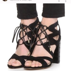 Sam Edelman Yardley black suede strappy heels